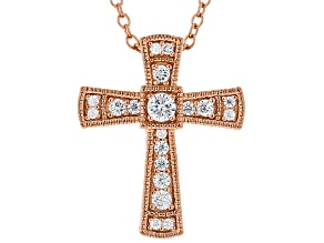 White Cubic Zirconia 18K Rose Gold Over Sterling Silver Cross Pendant With Chain 0.38ctw