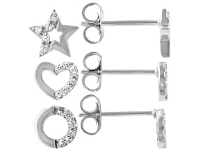 White Cubic Zirconia Rhodium Over Sterling Silver Stud Earring Set 0.31ctw