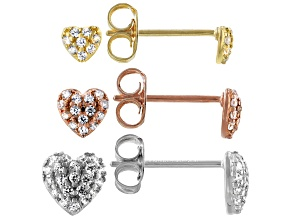 White Cubic Zirconia Rhodium And 18K Yellow And Rose Gold Over Sterling Silver Earrings 0.76ctw