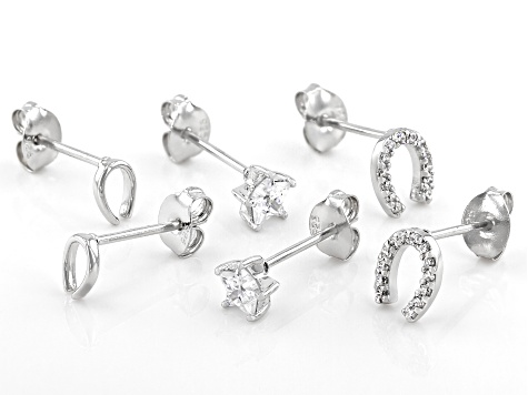 White Cubic Zirconia Rhodium Over Sterling Silver Earrings Set of 3 0.86ctw