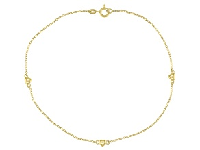 18K Yellow Gold Over Sterling Silver Heart Anklet