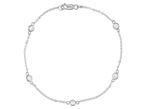 White Cubic Zirconia Rhodium Over Sterling Silver Anklet 2.02ctw