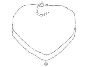 White Cubic Zirconia Rhodium Over Sterling Silver Anklet 0.31ctw