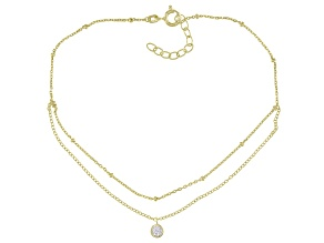 White Cubic Zirconia 18K Yellow Over Sterling Silver Anklet 0.31ctw