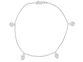 Rhodium Over Sterling Silver Heart Anklet.
