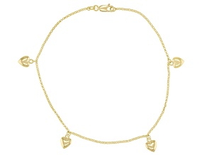 18K Yellow Gold Over Sterling Silver Heart Anklet.