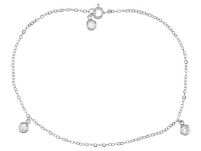 White Cubic Zirconia Rhodium Over Sterling Silver Anklet 1.21ctw