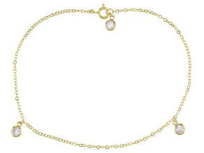 White Cubic Zirconia 18K Yellow Gold Over Sterling Silver Anklet 1.21ctw
