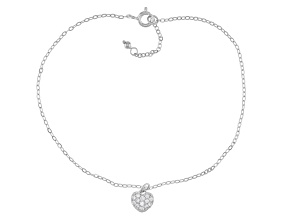 White Cubic Zirconia Rhodium Over Sterling Silver Heart Anklet 0.39ctw