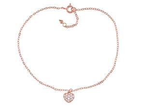 White Cubic Zirconia 18K Rose Gold Over Sterling Silver Heart Anklet 0.39ctw