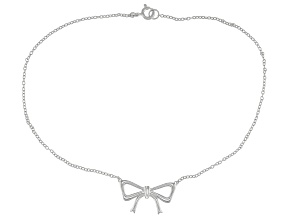 Rhodium Over Sterling Silver Bow Anklet