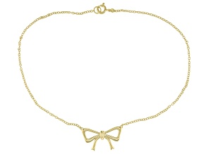 18K Yellow Gold Over Sterling Silver Bow Anklet