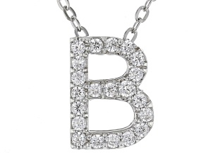 White Cubic Zirconia Rhodium Over Sterling Silver B Pendant With Chain 0.34ctw