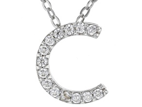 White Cubic Zirconia Rhodium Over Sterling Silver C Pendant With Chain 0.22ctw