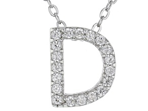 White Cubic Zirconia Rhodium Over Sterling Silver D Pendant With Chain 0.29ctw