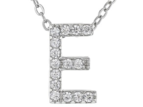 White Cubic Zirconia Rhodium Over Sterling Silver E Pendant With Chain 0.23ctw