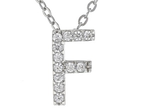 White Cubic Zirconia Rhodium Over Sterling Silver F Pendant With Chain 0.18ctw