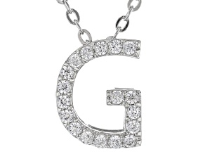 White Cubic Zirconia Rhodium Over Sterling Silver G Pendant With Chain 0.28ctw