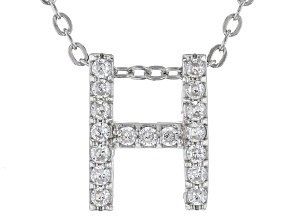 White Cubic Zirconia Rhodium Over Sterling Silver H Pendant With Chain 0.26ctw