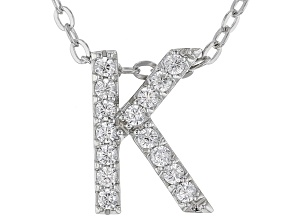 White Cubic Zirconia Rhodium Over Sterling Silver K Pendant With Chain 0.23ctw