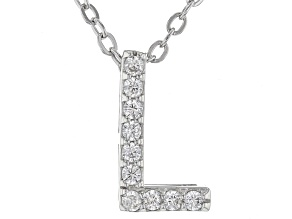 White Cubic Zirconia Rhodium Over Sterling Silver L Pendant With Chain 0.15ctw