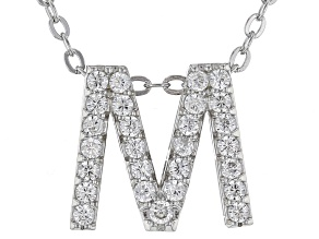 White Cubic Zirconia Rhodium Over Sterling Silver M Pendant With Chain 0.43ctw
