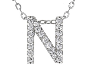 White Cubic Zirconia Rhodium Over Sterling Silver N Pendant With Chain 0.29ctw
