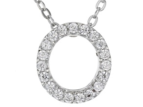 White Cubic Zirconia Rhodium Over Sterling Silver O Pendant With Chain 0.29ctw