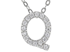 White Cubic Zirconia Rhodium Over Sterling Silver Q Pendant With Chain 0.27ctw