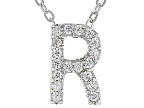 White Cubic Zirconia Rhodium Over Sterling Silver R Pendant With Chain 0.28ctw