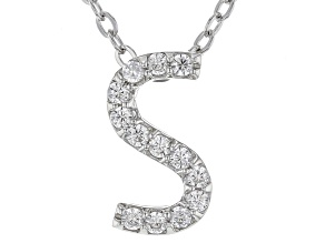 White Cubic Zirconia Rhodium Over Sterling Silver S Pendant With Chain 0.20ctw