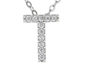White Cubic Zirconia Rhodium Over Sterling Silver T Pendant With Chain 0.17ctw
