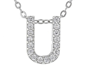 White Cubic Zirconia Rhodium Over Sterling Silver U Pendant With Chain 0.25ctw