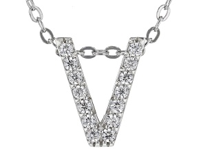 White Cubic Zirconia Rhodium Over Sterling Silver V Pendant With Chain 0.22ctw