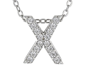 "White Cubic Zirconia Rhodium Over Sterling Silver ""X"" Pendant With Chain 0.25ctw"