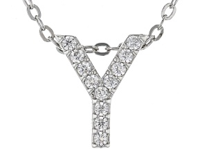 White Cubic Zirconia Rhodium Over Sterling Silver Y Pendant With Chain 0.18ctw
