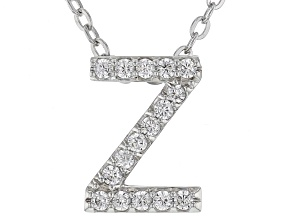 White Cubic Zirconia Rhodium Over Sterling Silver Z Pendant With Chain 0.25ctw