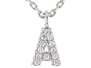 White Cubic Zirconia Rhodium Over Sterling Silver A Necklace 0.10ctw