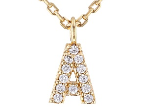 White Cubic Zirconia 18K Yellow Gold Over Sterling Silver A Necklace 0.10ctw