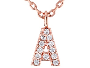 "White Cubic Zirconia 18K Rose Gold Over Sterling Silver ""A"" Necklace 0.10ctw"