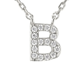 White Cubic Zirconia Rhodium Over Sterling Silver B Necklace 0.14ctw