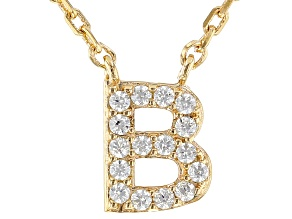 White Cubic Zirconia 18K Yellow Gold Over Sterling Silver B Necklace 0.14ctw