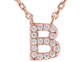 White Cubic Zirconia 18K Rose Gold Over Sterling Silver B Necklace 0.14ctw