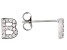 White Cubic Zirconia Rhodium Over Sterling Silver B Earrings 0.28ctw