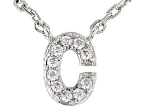 White Cubic Zirconia Rhodium Over Sterling Silver C Necklace 0.09ctw