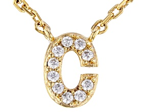White Cubic Zirconia 18K Yellow Gold Over Sterling Silver C Necklace 0.09ctw