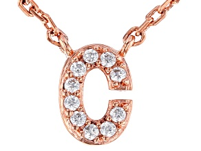 """White Cubic Zirconia 18K Rose Gold Over Sterling Silver """"C"""" Necklace 0.09ctw"""