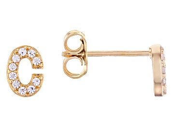 Picture of White Cubic Zirconia 18K Yellow Gold Over Sterling Silver C Earrings 0.18ctw