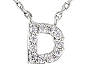 White Cubic Zirconia Rhodium Over Sterling Silver D Necklace 0.17ctw
