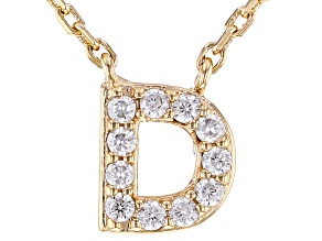 White Cubic Zirconia 18K Yellow Gold Over Sterling Silver D Necklace 0.17ctw